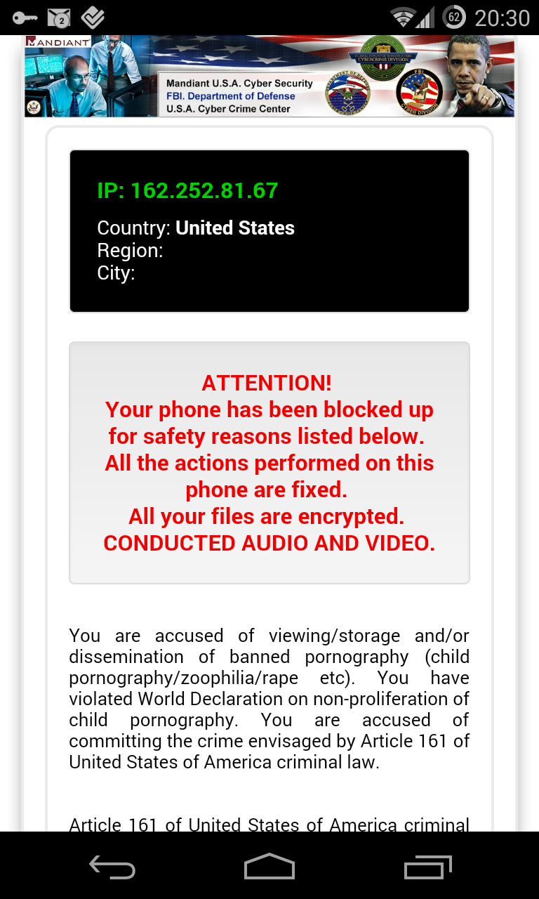 Android Virus ransomware