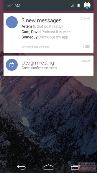 Android 5.0 Lollipop Notification Center