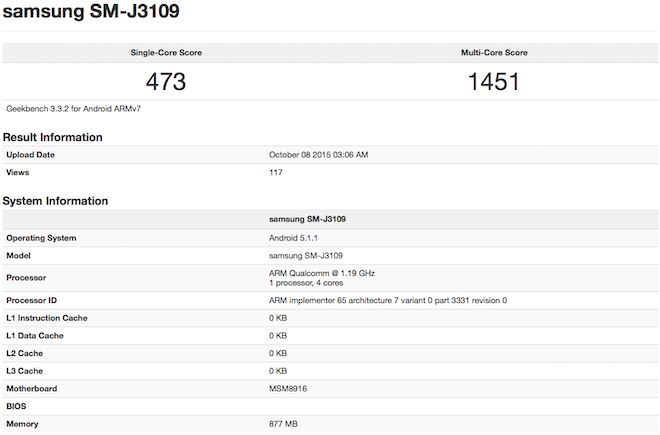 Galaxy J3 benchmark