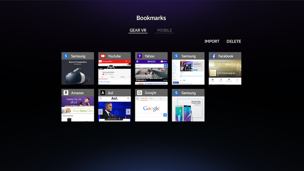 Gear VR Internet Bookmarks