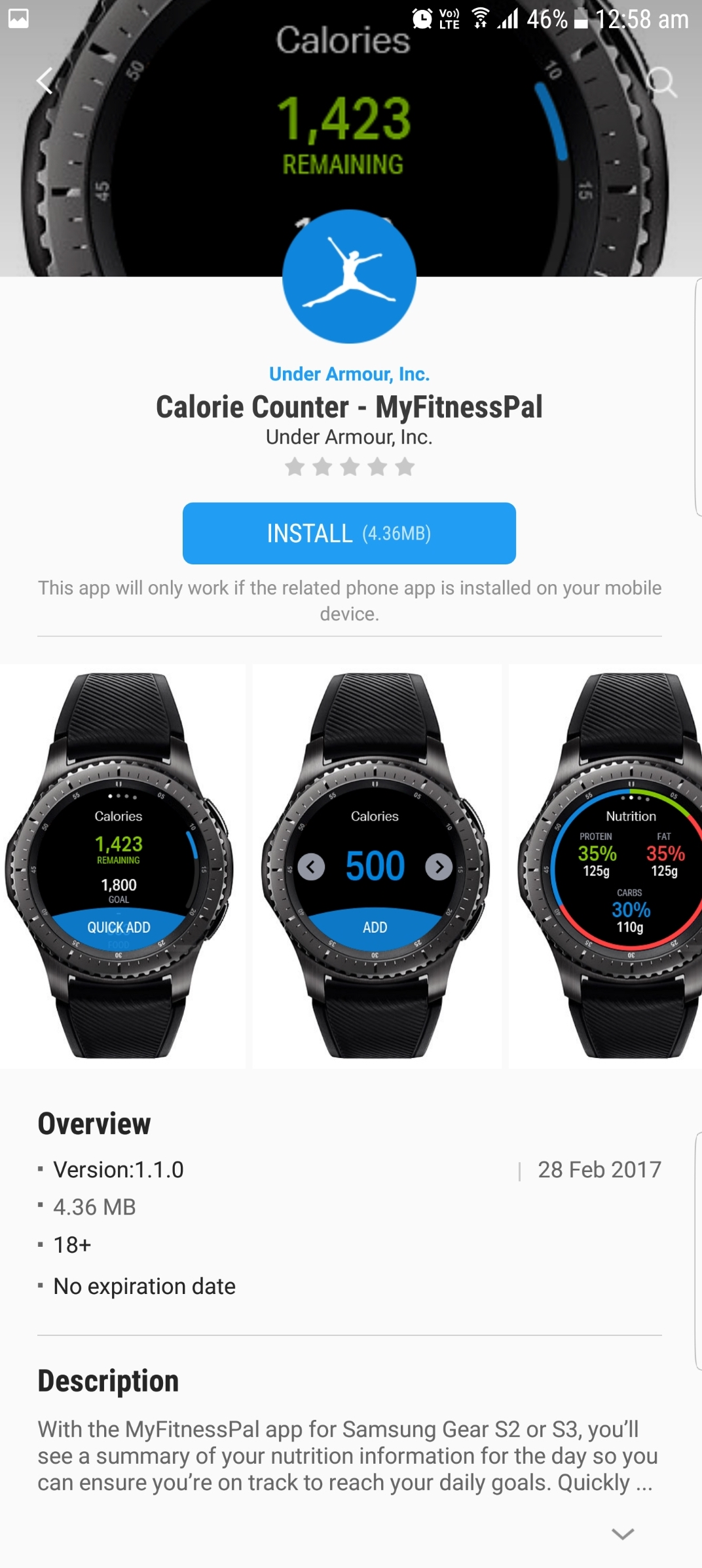 Calorie-Counter-MyFitnessPal-Samsung-Gear-S2-S3