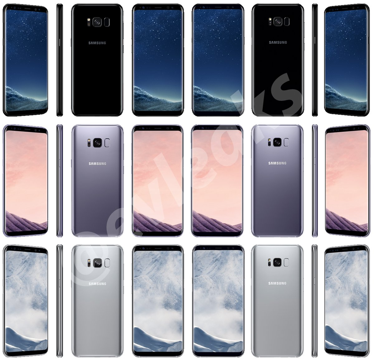 Galaxy S8 all colors evleaks