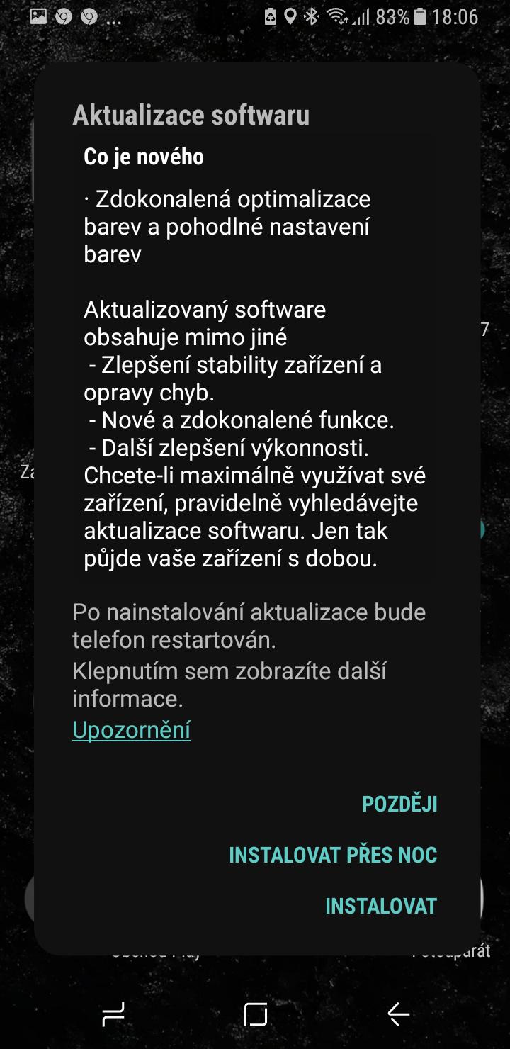 Galaxy S8 aktualizace cerveny displej 1