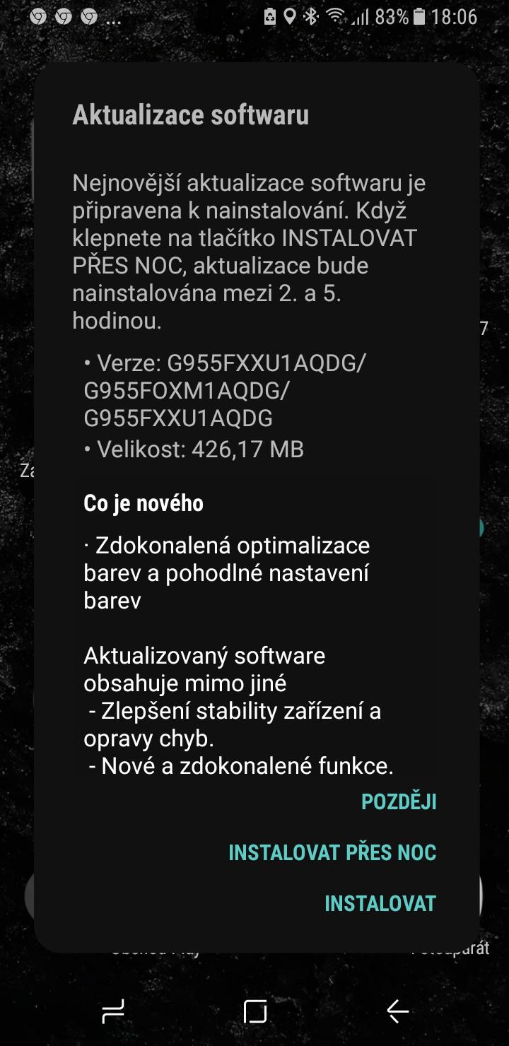 Galaxy S8 aktualizace cerveny displej 2