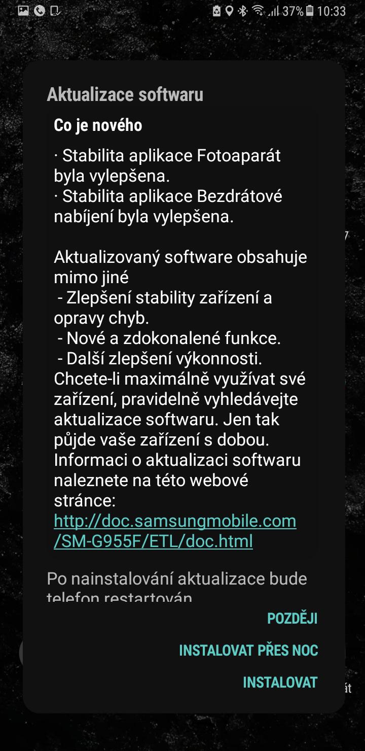 Galaxy S8 aktualizace 1
