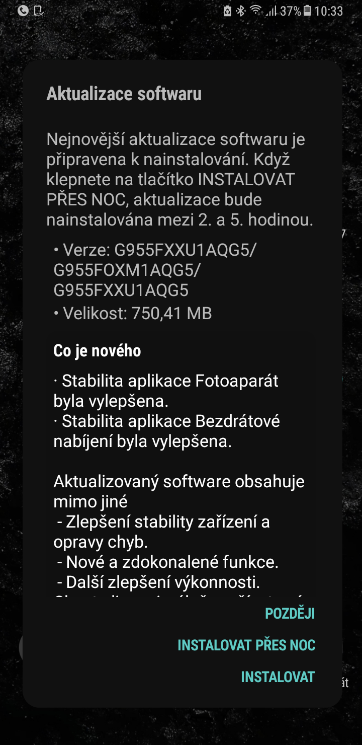 Galaxy S8 aktualizace 2