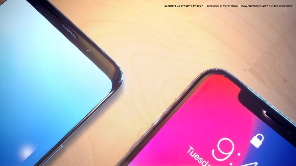 Samsung Galaxy S9 vs iPhone X render 1