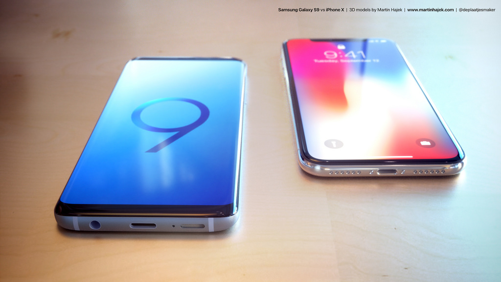 Samsung Galaxy S9 vs iPhone X render 2