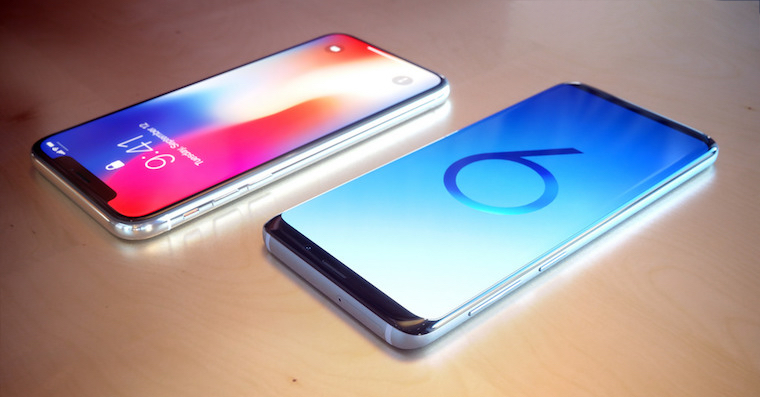 Samsung Galaxy S9 vs iPhone X render FB