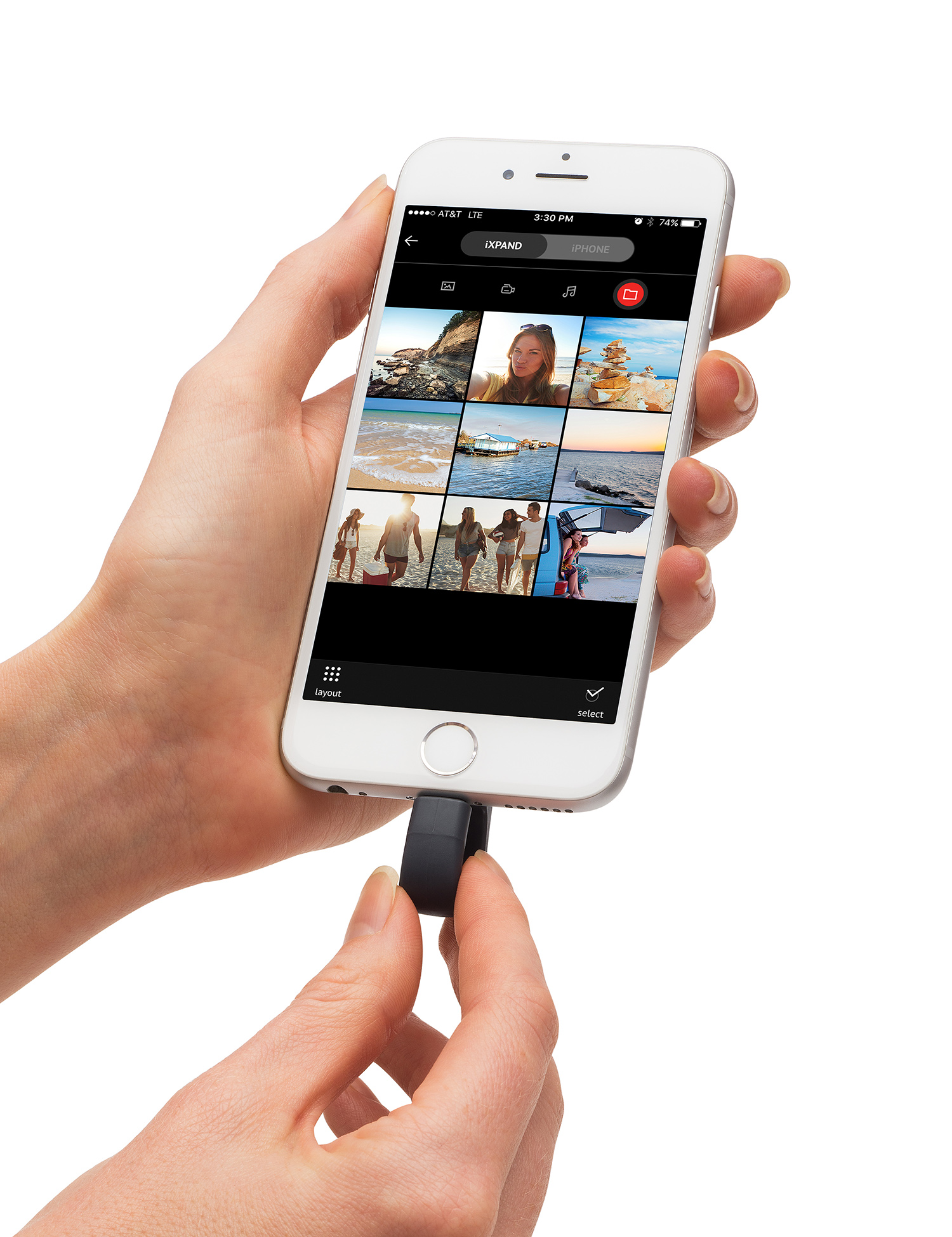 Product: iXpand Flash Drive – device in iPhone