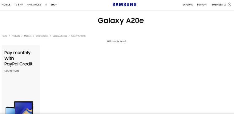 Samsung Galaxy A20e Page