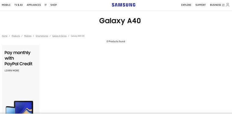 Samsung Galaxy A40 Page