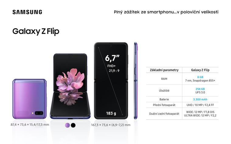 Samsung Z Flip Infografika CZ parametry