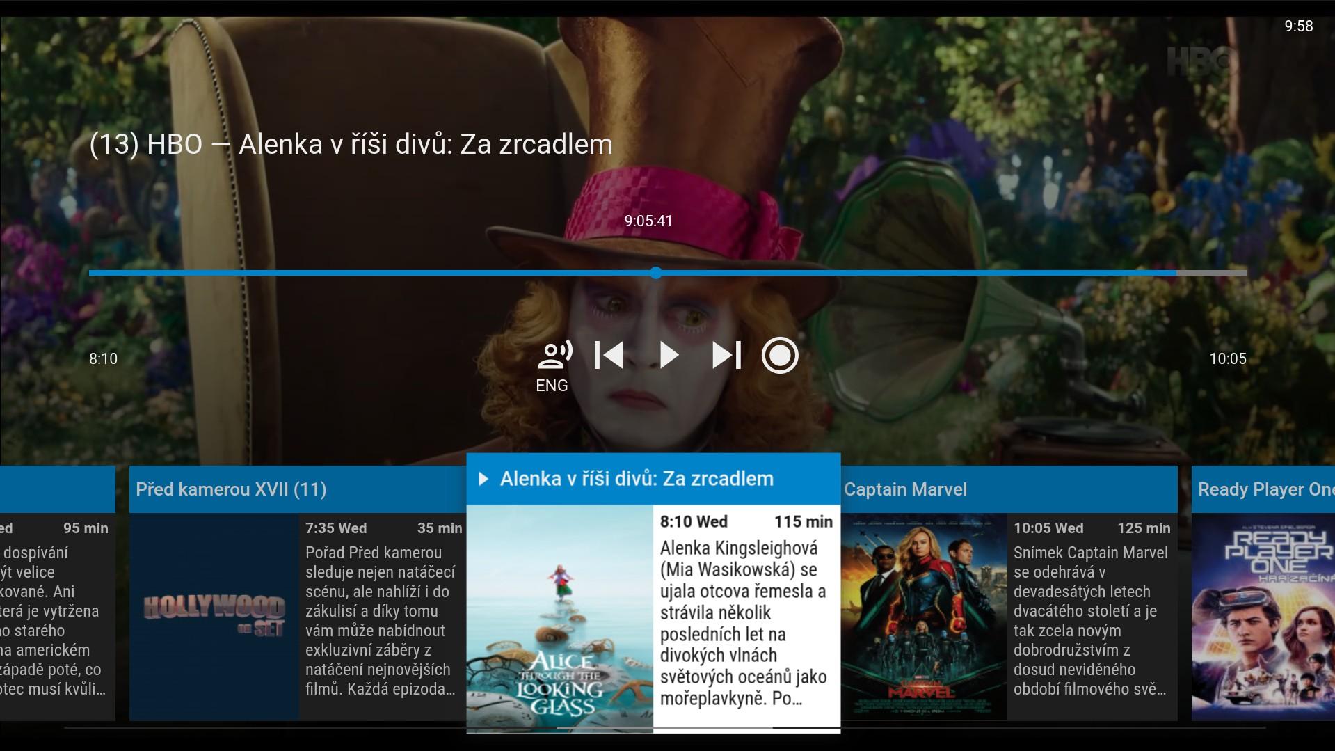 Screenshot z aplikace Sledování TV na Samsung TV